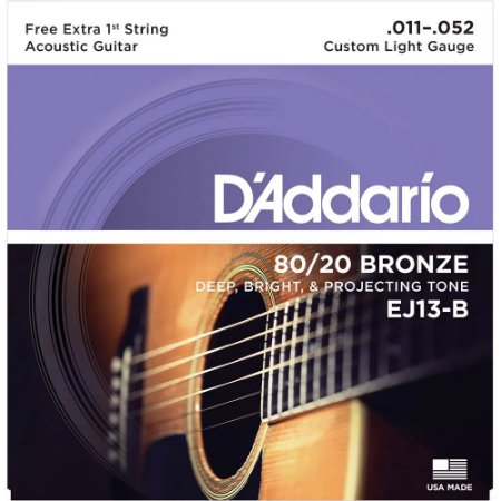 Encordoamento Violão D'Addario 011-052 EJ13-B Custom Light 80/20 Bronze c/ corda extra