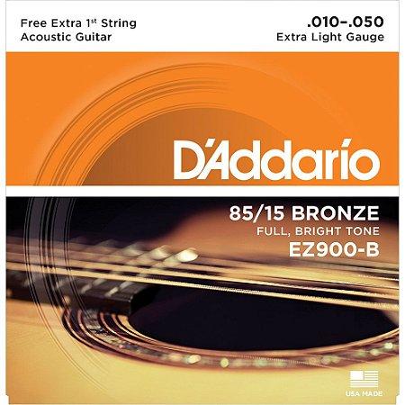 Encordoamento Violão D'Addario 010-050 EZ900-B Extra Light 85/15 Bronze - com corda extra