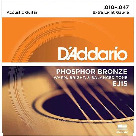 Encordoamento Violão D'Addario 010-047 EJ15 Extra Light Phosphor Bronze