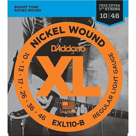 Encordoamento Guitarra D' Addario 010-046 EXL110-B Regular Light - com corda extra