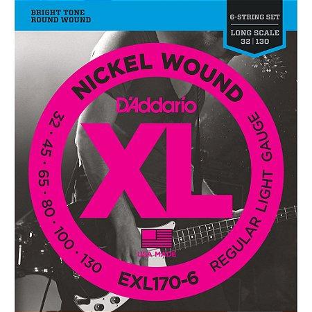 Encordoamento Baixo 6 cordas D'Addario 032-130 EXL170-6 Regular Light Nickel