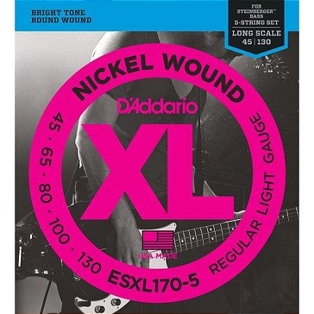 Encordoamento Baixo 5 cordas D'Addario 045-130 EXL170-5 Regular Light Nickel