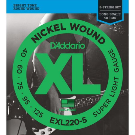 Encordoamento Baixo 5 cordas D'Addario 040-125 EXL220-5 escala longa