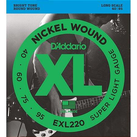 Encordoamento Baixo 4 cordas D'Addario 040-094 EXL220 Nickel