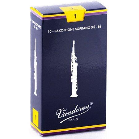 Palheta Sax Soprano Tradicional 1 Vandoren SR201 - 10 unidades embaladas individualmente
