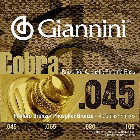 Encordoamento Baixolão 4 cordas Giannini 045-100 GEEBASF Cobra Phosphor Bronze