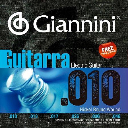 Encordoamento Guitarra Giannini GEEGST10 010-046 Nickel Round Wound