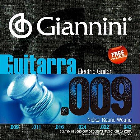 Encordoamento Guitarra Giannini GEEGST9 009-042 Nickel Round Wound