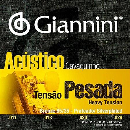 Encordoamento Cavaquinho Giannini Tensão Pesada Bronze 65/35 Prateado GESCPA