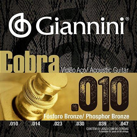Encordoamento Violão Giannini .010-.050 Cobra Phosphor Bronze GEEFLEF