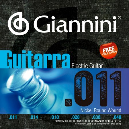 Encordoamento Guitarra Giannini GEEGST11 011-049 Nickel Round Wound