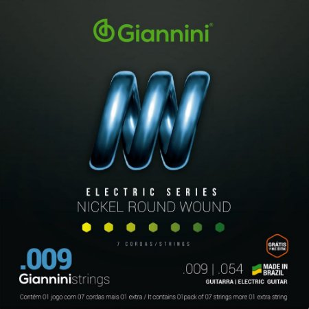 Encordoamento Guitarra 7 Cordas Giannini 009-054 GEEGST709