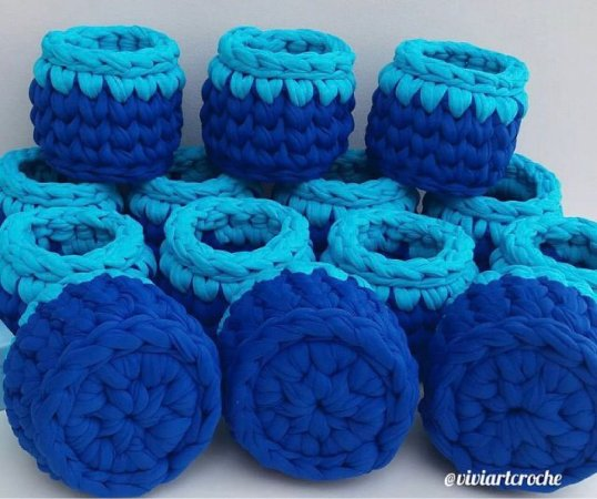 Cestinhos mini em crochê para lembrancinhas - 10 unidades