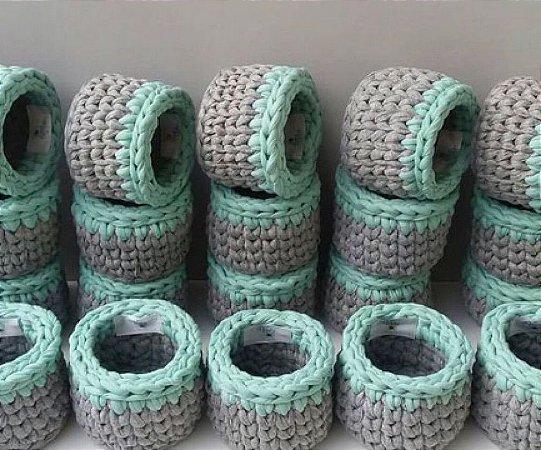 Cestinhos para lembrancinhas em crochê - 10 unidades