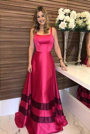 Vestido longo rosa bicolor
