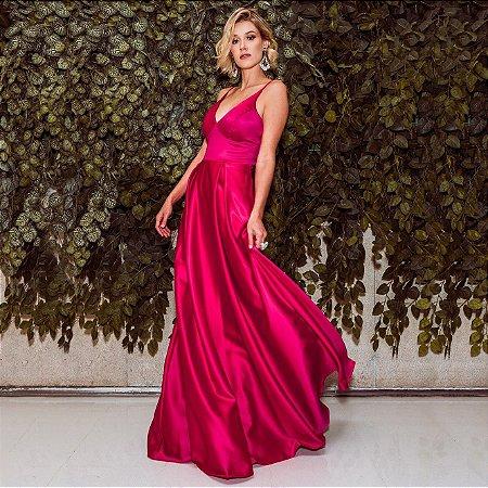 Vestido Longo Rosa de Alça Fina