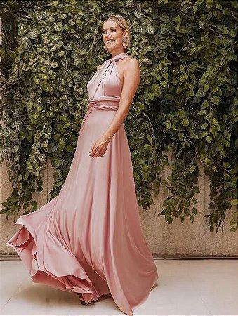 Vestido Longo Rosê Versátil