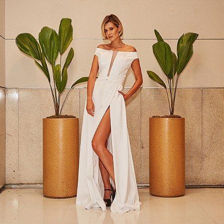Vestido longo branco Lilia Cabral