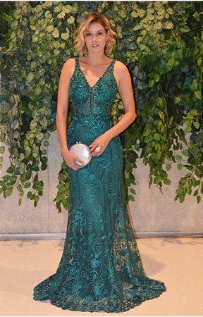 Vestido longo verde esmeralda com aplicações e bordados