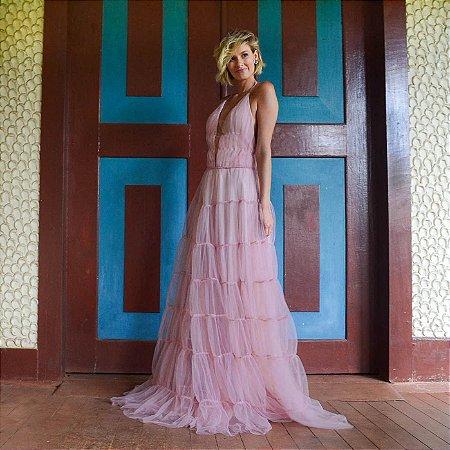 Vestido longo rose de camadas