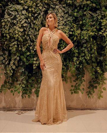 Vestido longo nude/dourado com aplicações e bordados