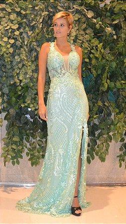 Vestido longo verde tiffany com aplicações e bordados