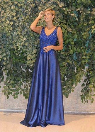 Vestido longo azul navalcom aplicações e bordados