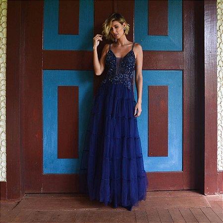 Vestido longo azul naval com aplicações e bordados