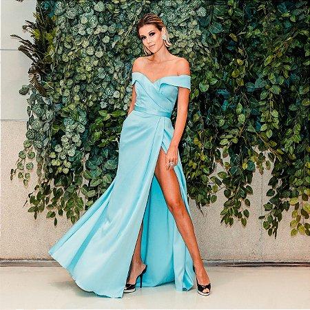 Vestido longo azul ombro a ombro