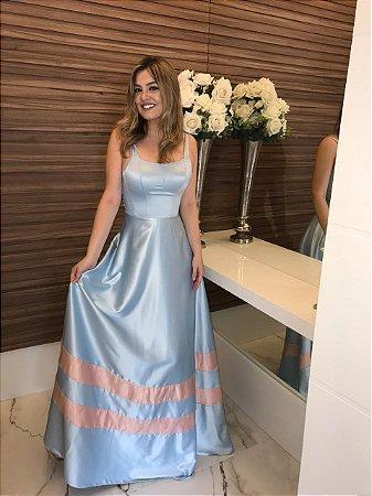 Vestido longo azul serenity bicolor