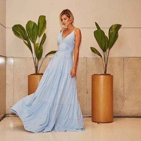 Vestido longo azul serenity de camadas