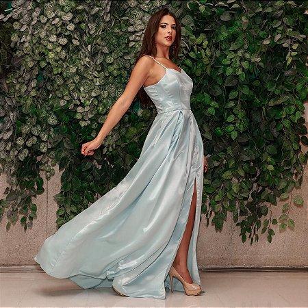 Vestido longo azul serenity decote semi coração