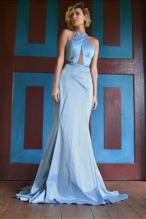 Vestido longo azul serenity com decote