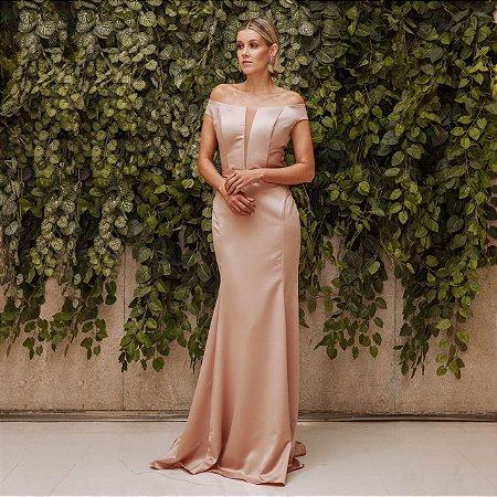 Vestido longo nude Lilia Cabral sereia