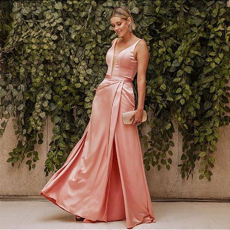 Vestido longo rose alça média