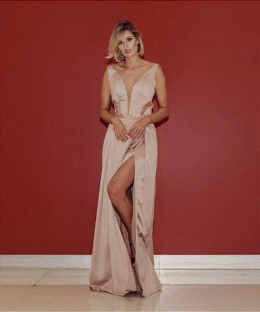 Vestido longo nude com detalhes em transparência