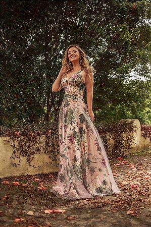 Vestido longo floral com aplicações e bordado