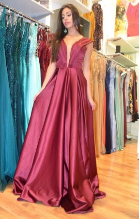 Vestido longo marsala decote v