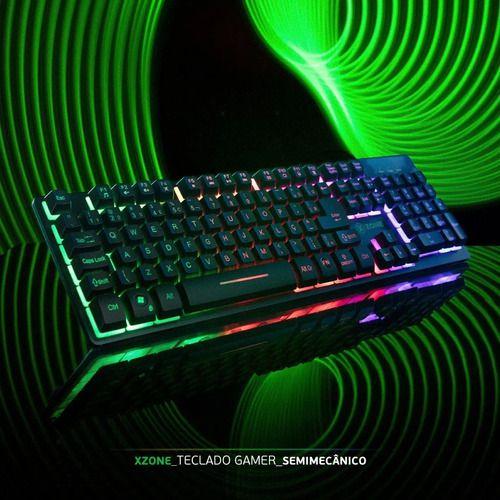 Teclado Gamer Semi Mecânico Led Rgb Xzone - Preto