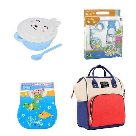 Combo 05 - Bolsa Mochila Maternidade + Tigela Infantil + Babador Estampado + Kit Play Baby