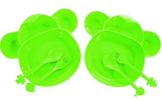 Kit Comida Infantil Com 2 Pratos + 4 Talheres