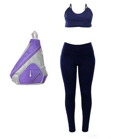 Kit Fitness Mochila + Top Cropped + Calça Legging