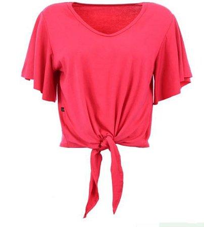 Blusa Cropped Feminina Lisa Com Amarração Frontal Tamanho M