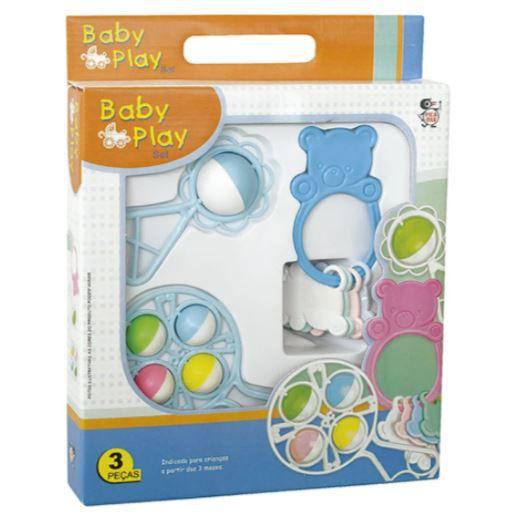 Kit Baby Play Infantil Chocalho E Mordedor 3 Peças