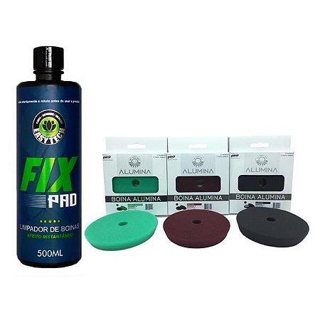 """Kit Boina Polimento 5"""" Corte, Lustro e Refino + Fixpad - Easytech"""
