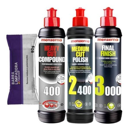 Kit Polimento Hcc400 + 2400 + 3000 250ml Menzerna + Clay Bar
