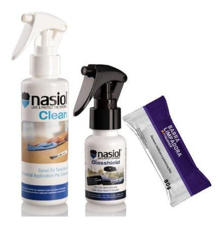 Kit Nasiol Glasshield Repelente Parabrisa 50ml - 2 Anos Proteção + Combo