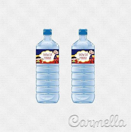 Adesivo retangular para garrafinha de água Show da Luna - 12 unidades