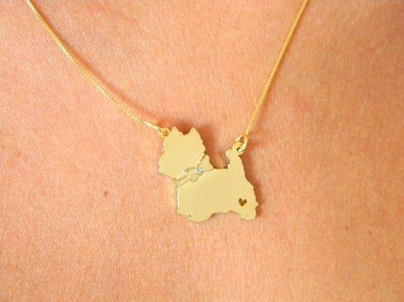 Coleção Pet - West Highland White Terrier - Prata 925 com banho de ouro amarelo