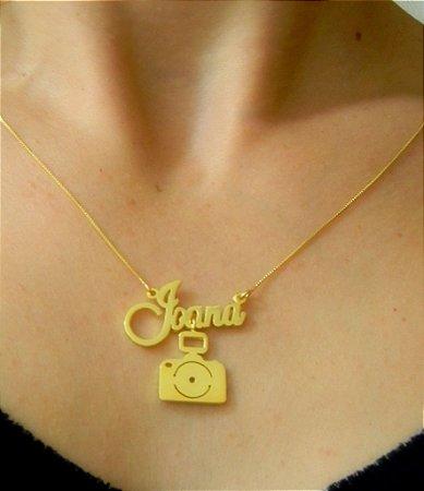 Colar Fotografia com Nome  - Prata 925 com banho de ouro